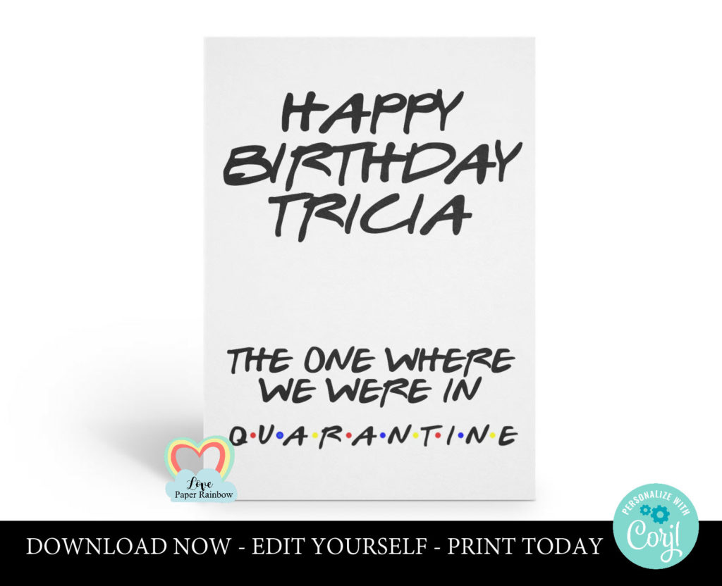 Quarantine Birthday Card Quarantine Birthday Card