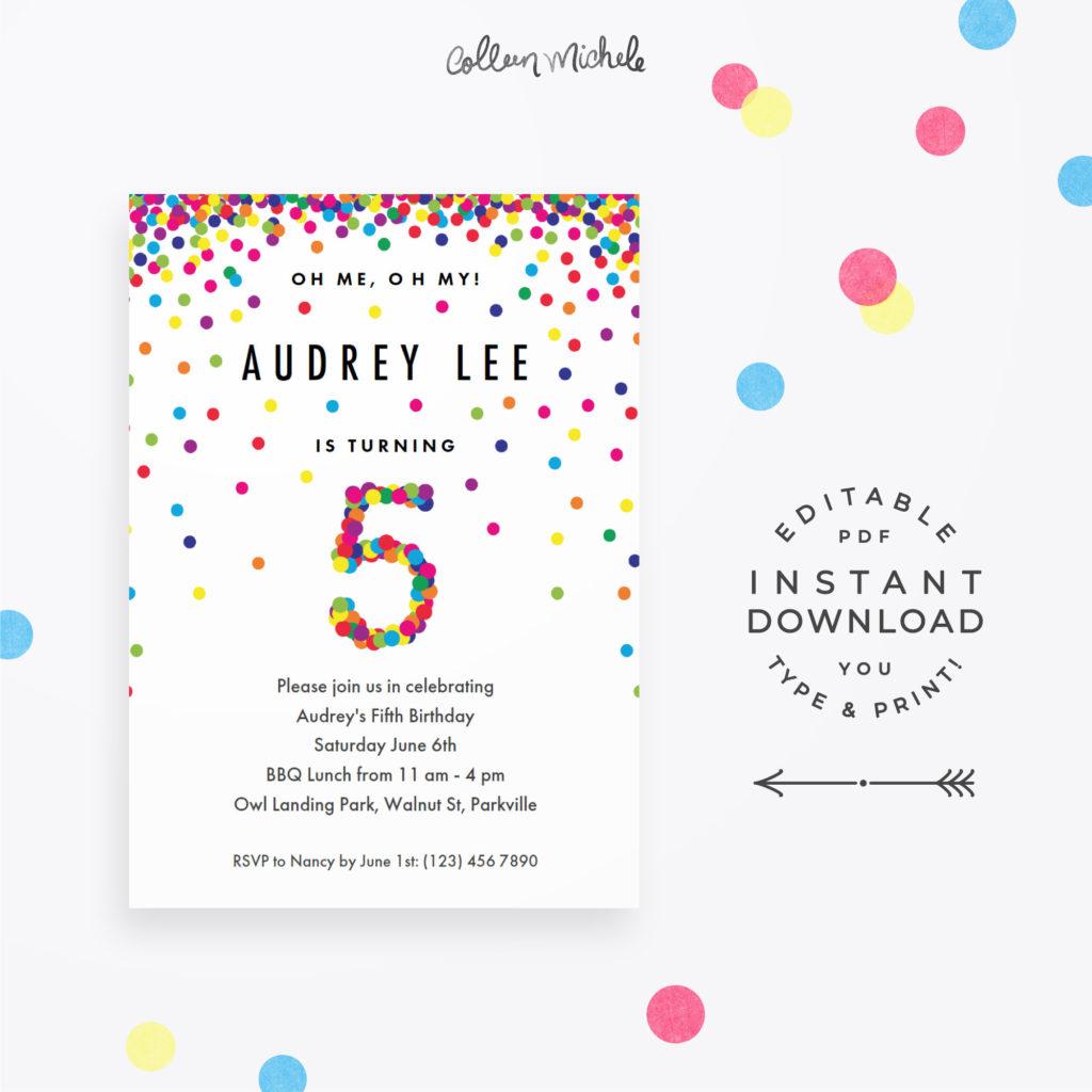 Rainbow 5th Birthday Party Invitation Instant Download Etsy