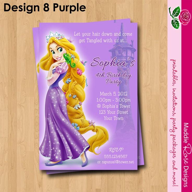 Rapunzel Tangled Invitation Printable Birthday Party You