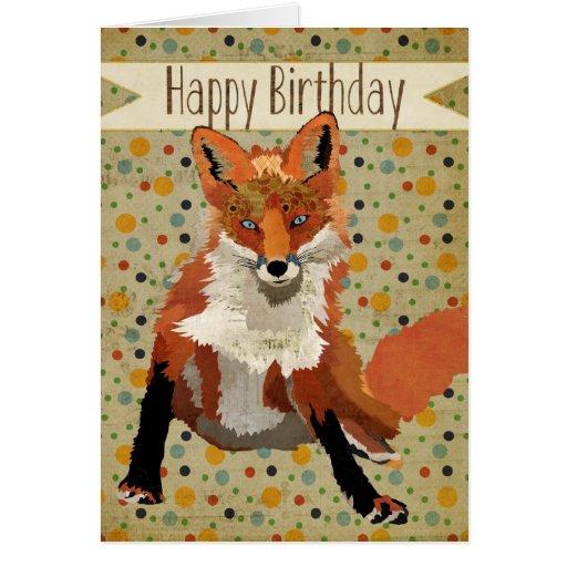 Red Fox Birthday Card Zazzle