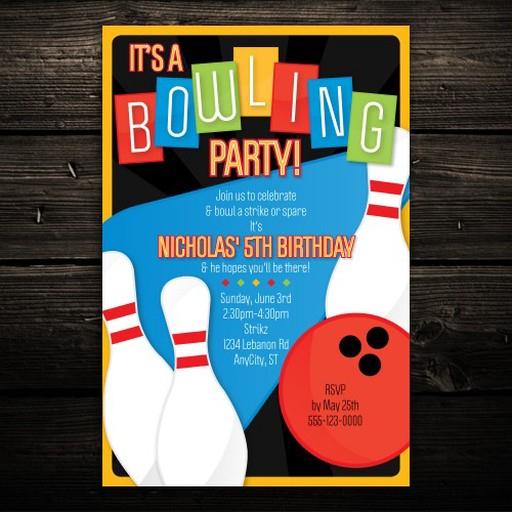 Retro Kids Bowling Party Printable Invitation Birthday