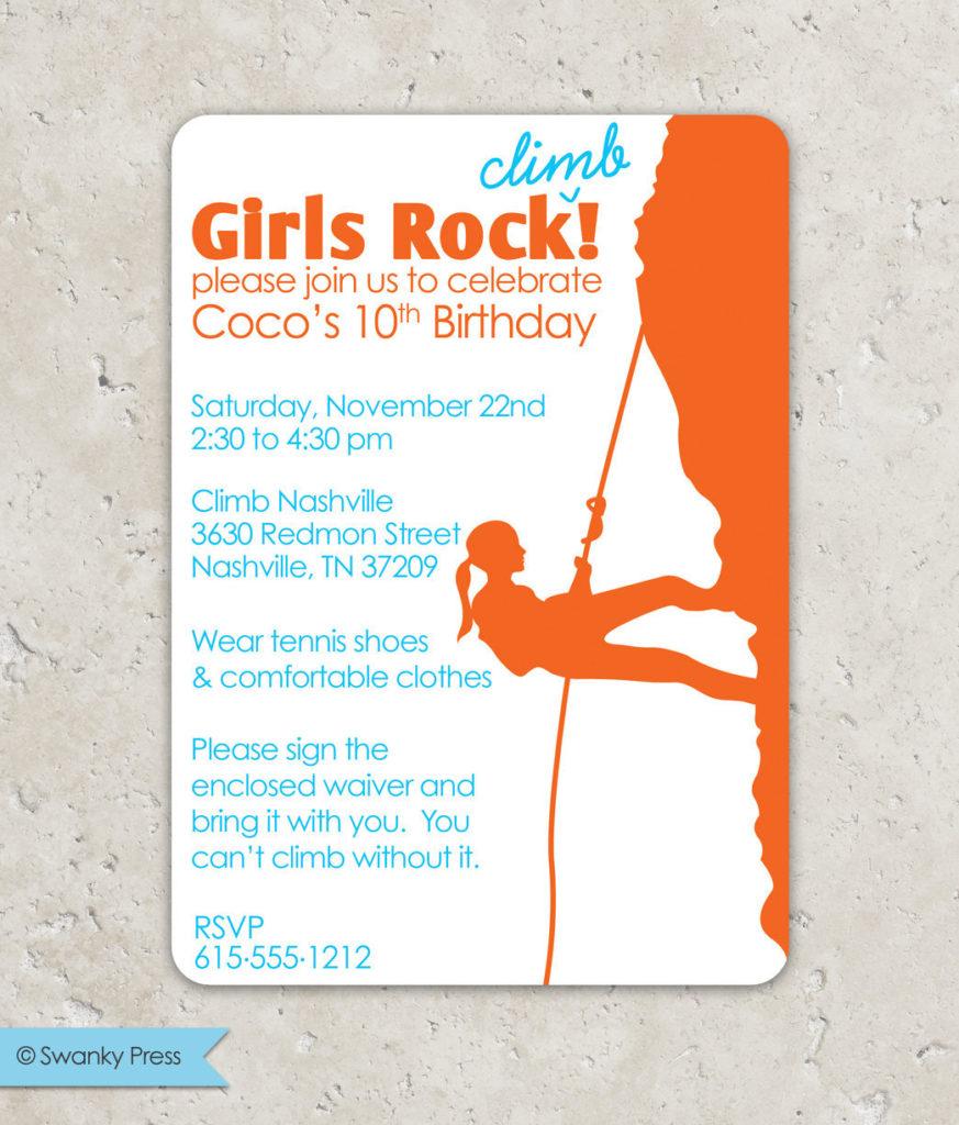 Rock Climbing Girls Rock Birthday Invitation By SwankyPress