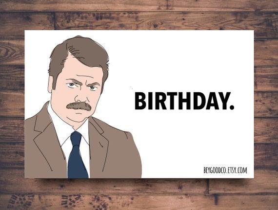 Ron Swanson Birthday Printable Birthday Card Funny
