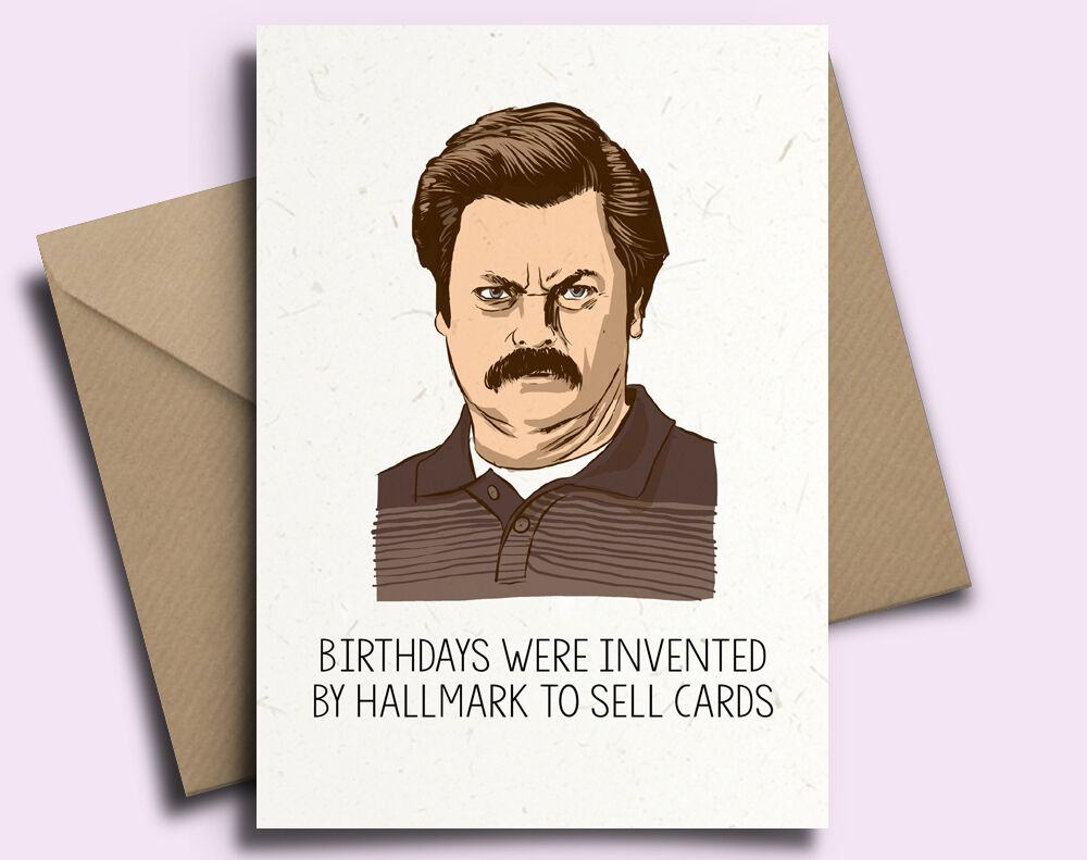 Ron Swanson Personalised Birthday Card Parks And Rec