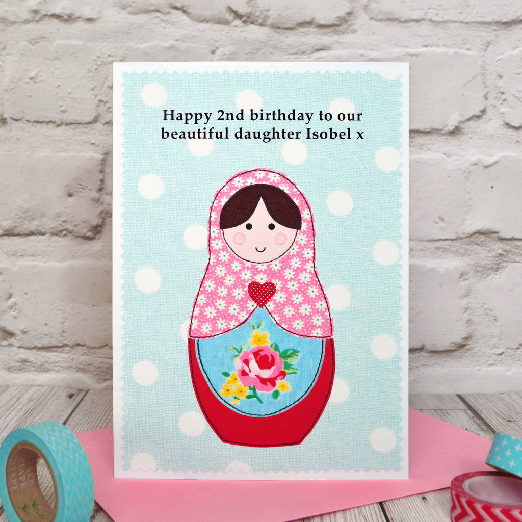 russian Doll Personalised Girls Birthday Card By Jenny