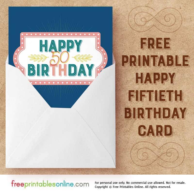 Salmon Navy Happy 50th Birthday Card Free Printables