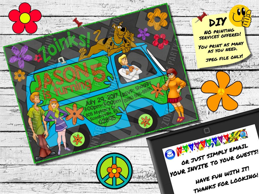SCOOBY DOO Style BIRTHDAY Chalkboard Invitation Printable