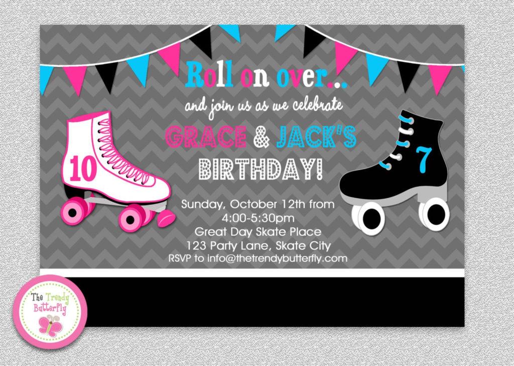 Siblings Roller Skating Birthday Invitation By