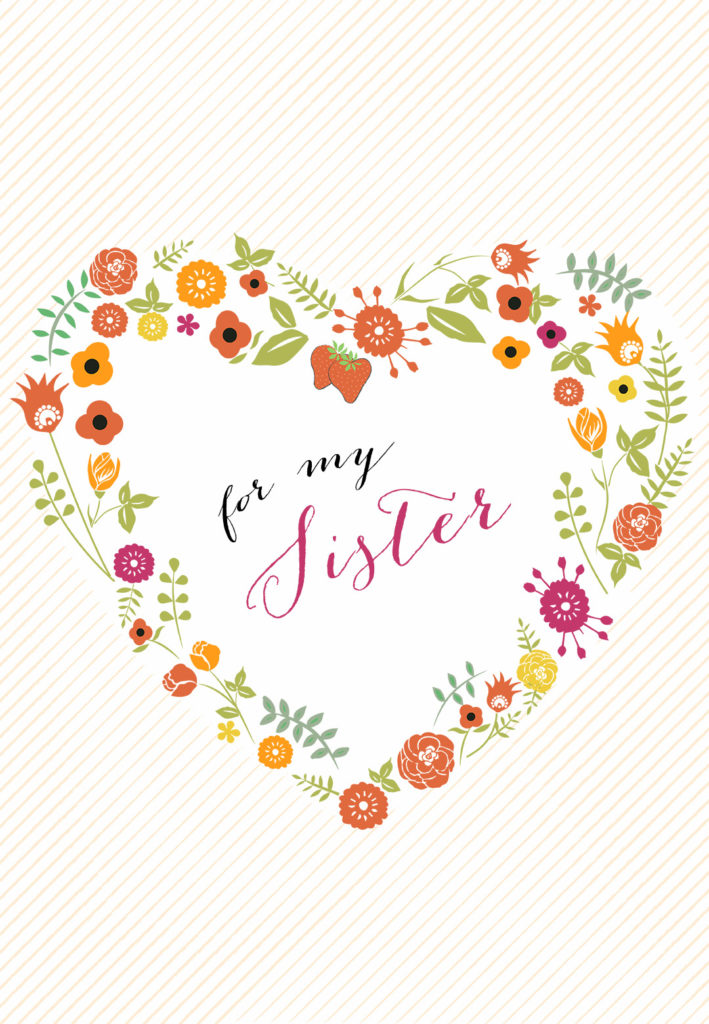 Sister Flower Heart Free Birthday Card Greetings Island