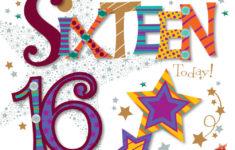 Happy 16th Birthday Cards Printable