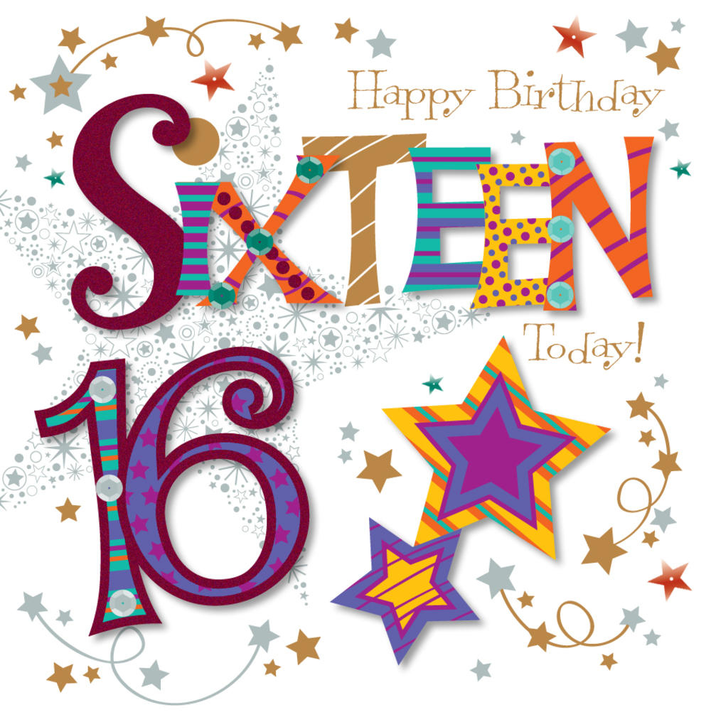 Sixteen Today 16th Birthday Greeting Card Cards Love Kates