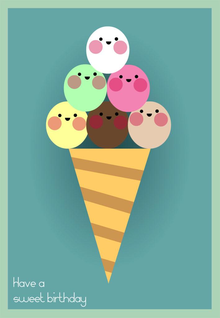Smiling Ice Cream Balls Birthday Card Greetings Island