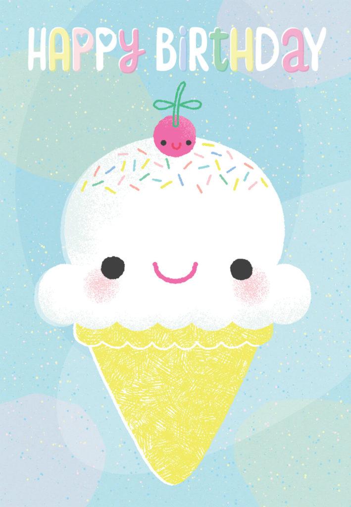 Smiling Ice Cream Cone Birthday Card Greetings Island