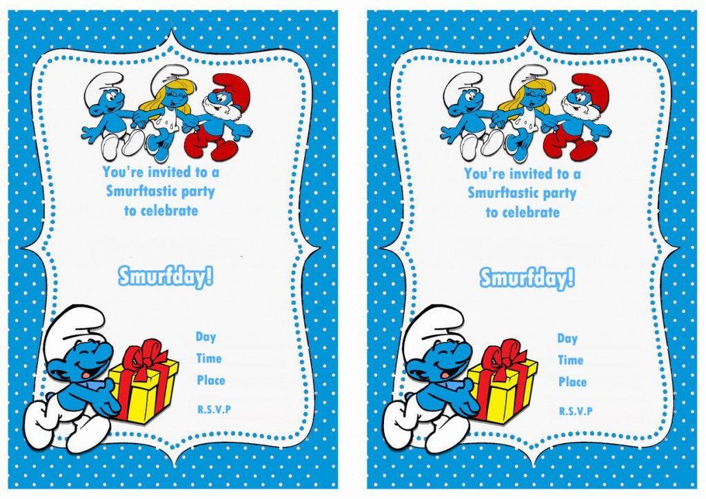Smurfs Birthday Invitations Birthday Invitations Kids