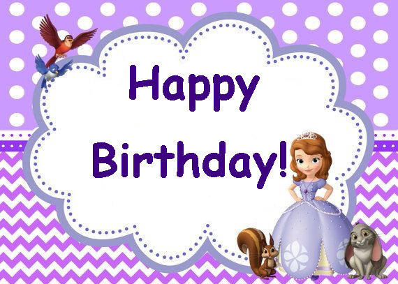 SOFIA THE FIRST Birthday Party Card Set Instant Download