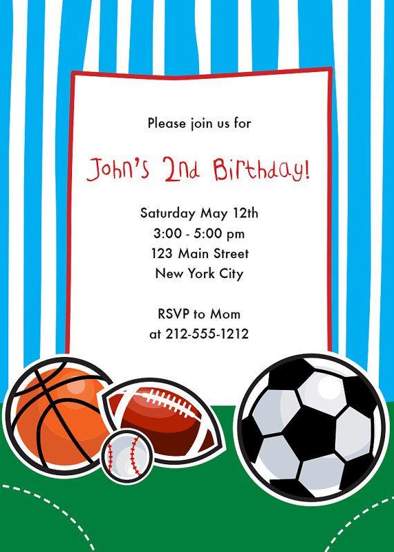Sports Themed Birthday Invitation Sports Birthday Party