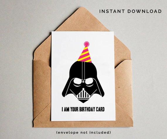 Star Wars Birthday Card Darth Vader Birthday Card Star Wars