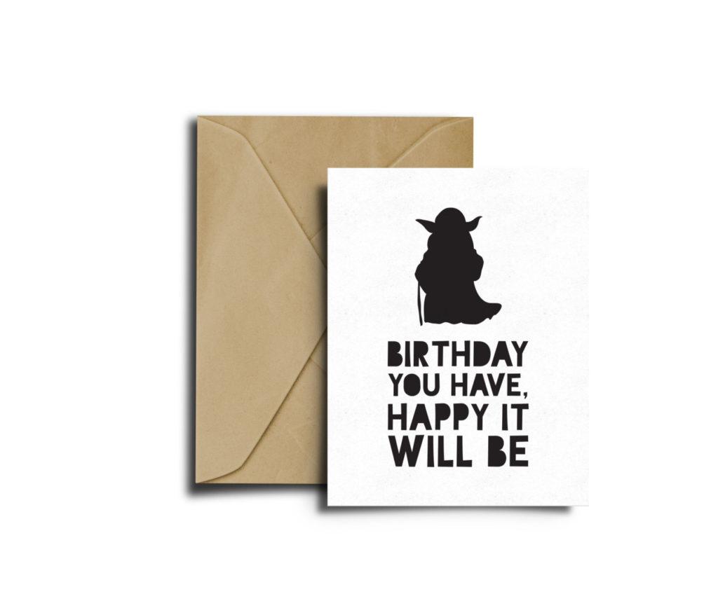 Star Wars Bithday Yoda Card Star Wars Birthday Card