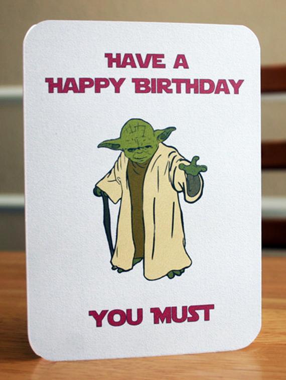 Star Wars Printable Birthday Card Yoda Card By