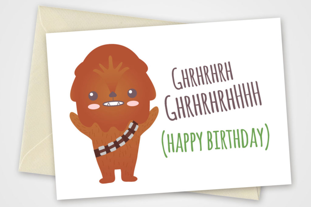 Star Wars Printable Card With Chewbacca Birthday Card