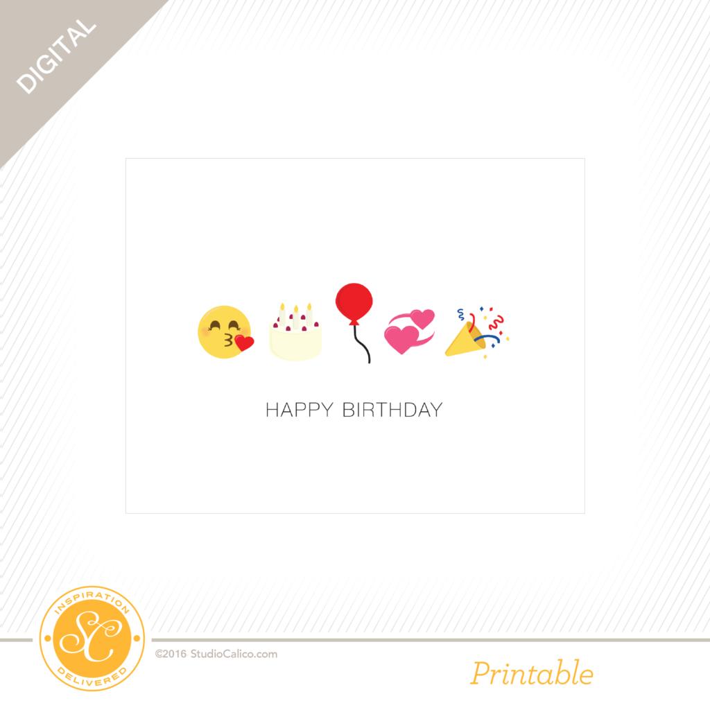 Story Board Printable Birthday Emoji Card Studio Calico