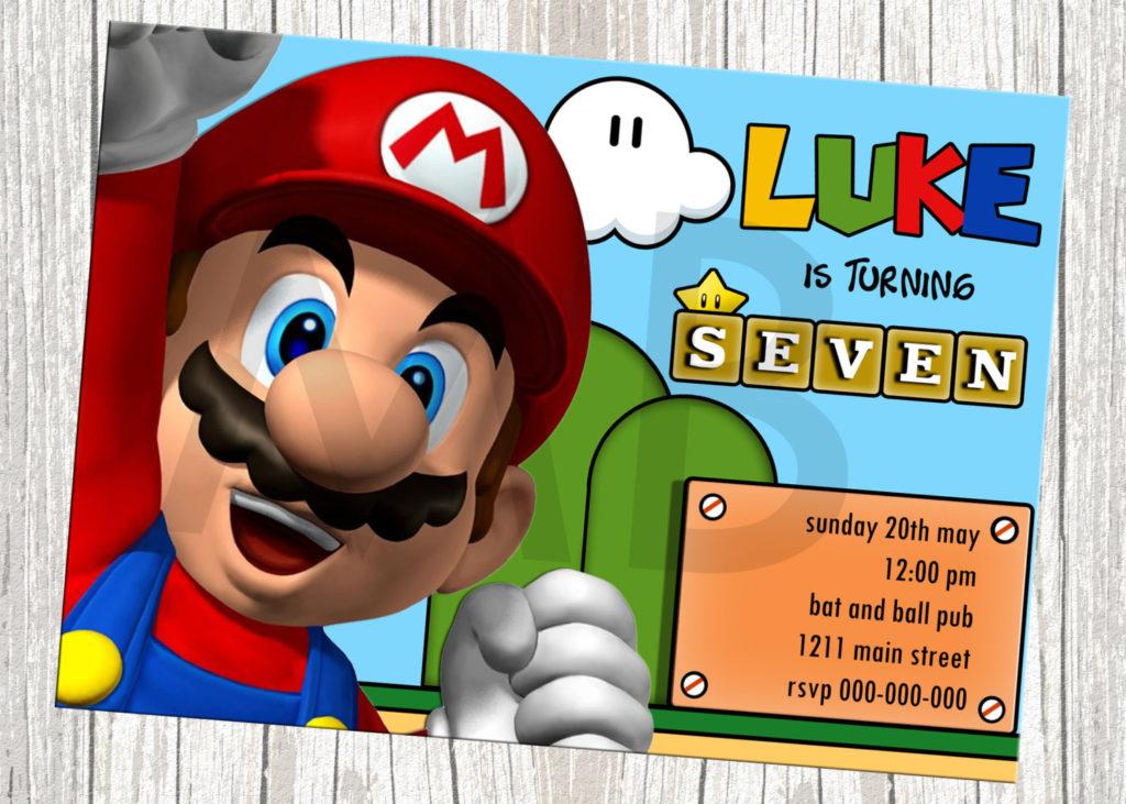 Super Mario Birthday Invitations Bagvania