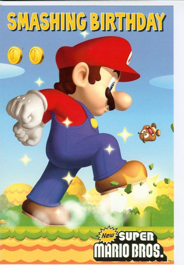 Super Mario Bros Smashing Birthday Greeting Card EBay