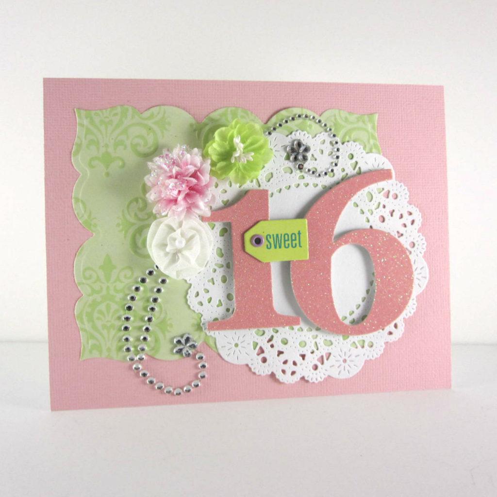 Sweet 16th Birthday Card Sweet 16 Handmade Embossed Card