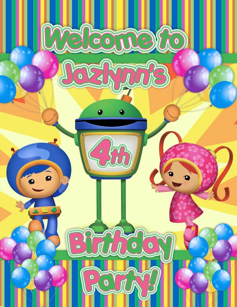 Team Umizoomi Printable Happy Birthday Sign