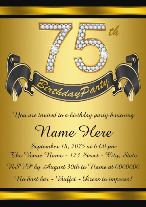 The Best 75th Birthday Invitations And Party Invitation