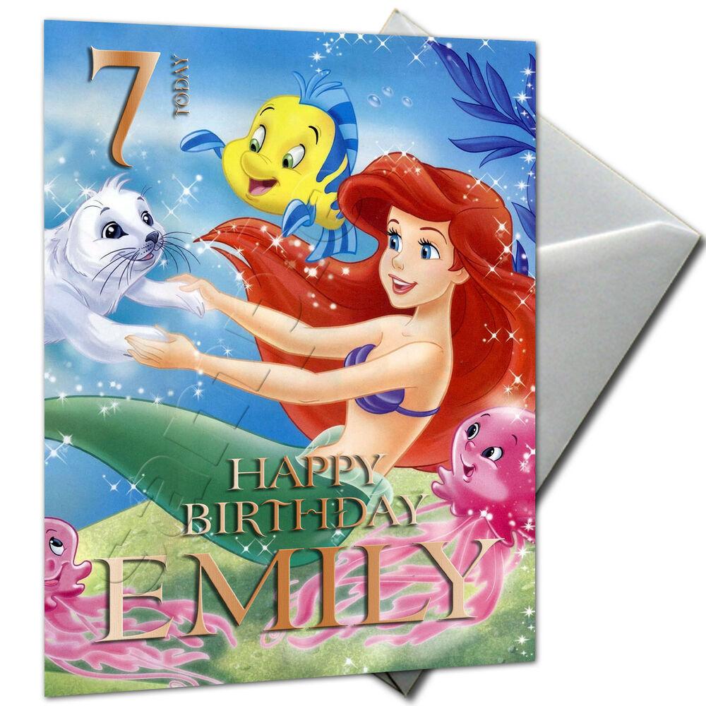 THE LITTLE MERMAID ARIEL PERSONALISED Birthday Card