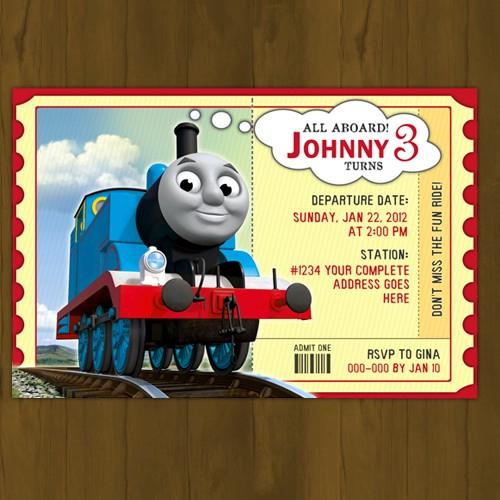 Thomas Train Printable Birthday Invitation Card DIY