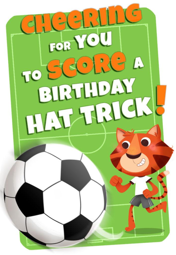 Tiger Playing Soccer Birthday Card Greetings Island