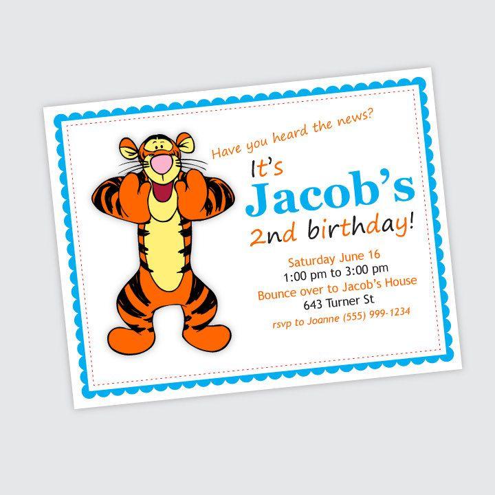 Tigger Birthday Party Invitation Boy Or Girl Birthday