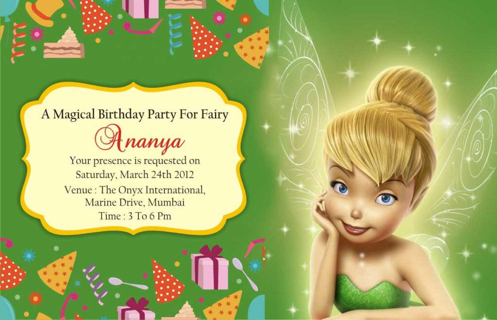 Tinkerbell Birthday Invitation Cards