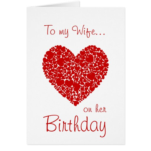 To My Wife On Her Birthday Red Hearts Romantic Greeting