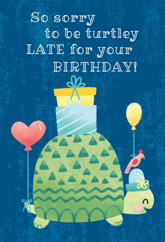 Turtle Belated Birthday Birthday Card Free Greetings