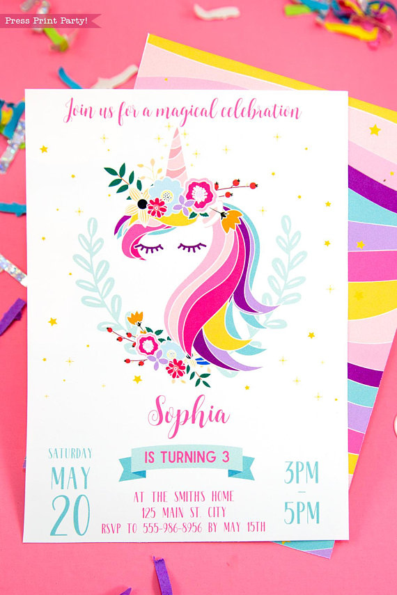 Unicorn Invitation Printable Press Print Party