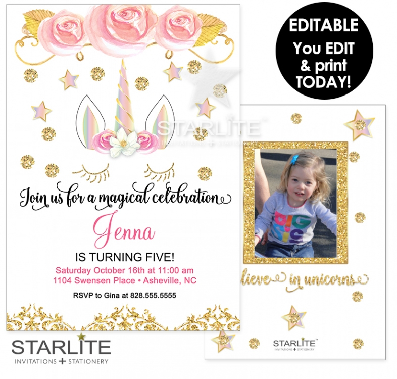 Unicorn Photo Birthday Invitation Printable EDITABLE