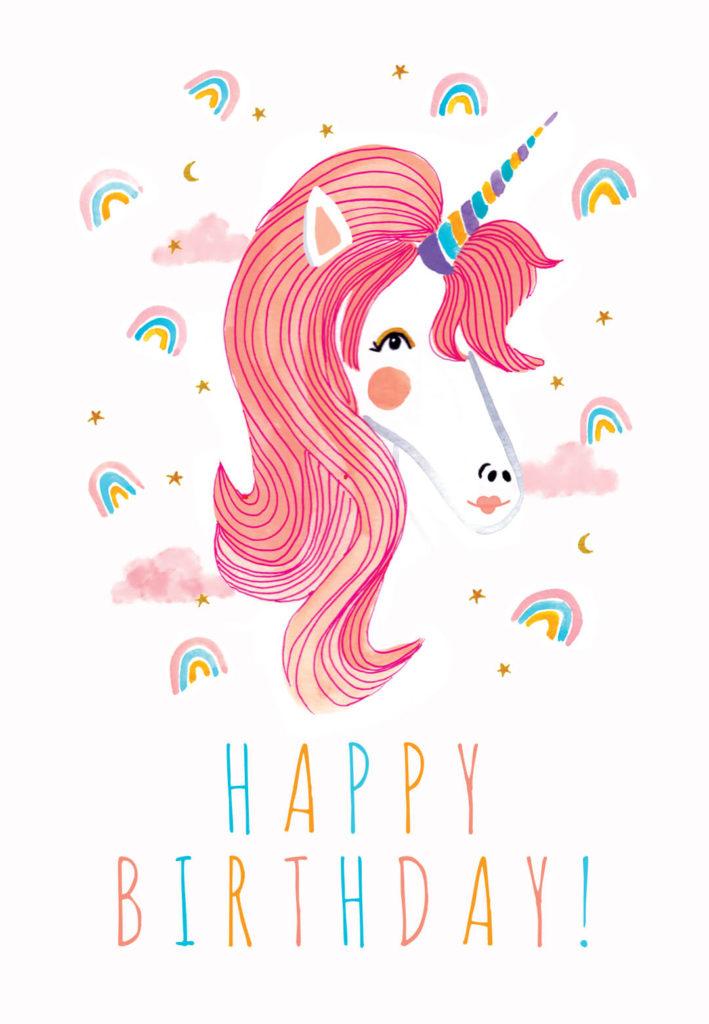 Unicorn Rainbows Birthday Card Free Greetings Island