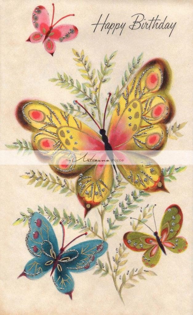 Vintage Birthday Card Art Deco Butterflies Digital Download