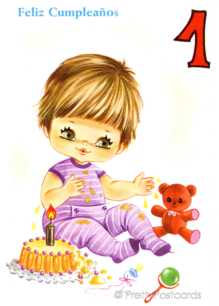 Vintage Birthday Card For A Big Eyed Baby 1 Year Old Flickr