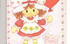 Vintage Strawberry Shortcake Birthday Paper Doll Card By