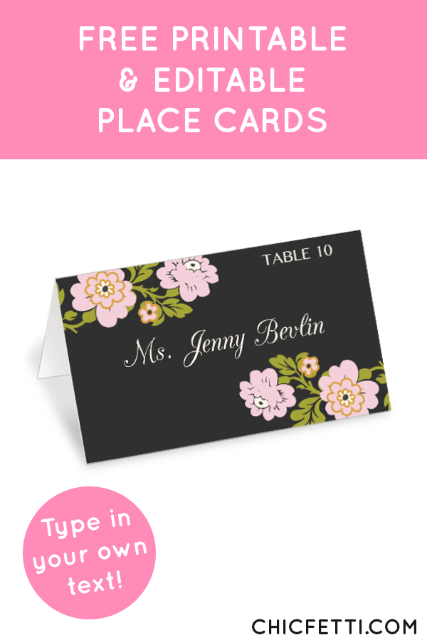 Whimsical Botanical Place Cards Printable Place Cards