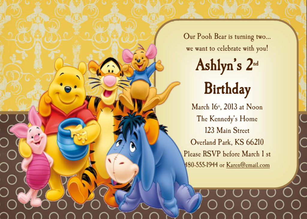 Winnie The Pooh Invitations For 1st Birthday FREE