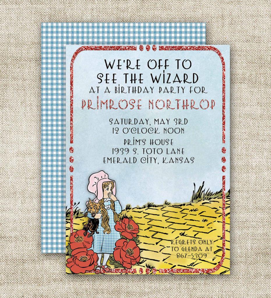 WIZARD OF OZ Birthday Party Invitations Ruby Slipper