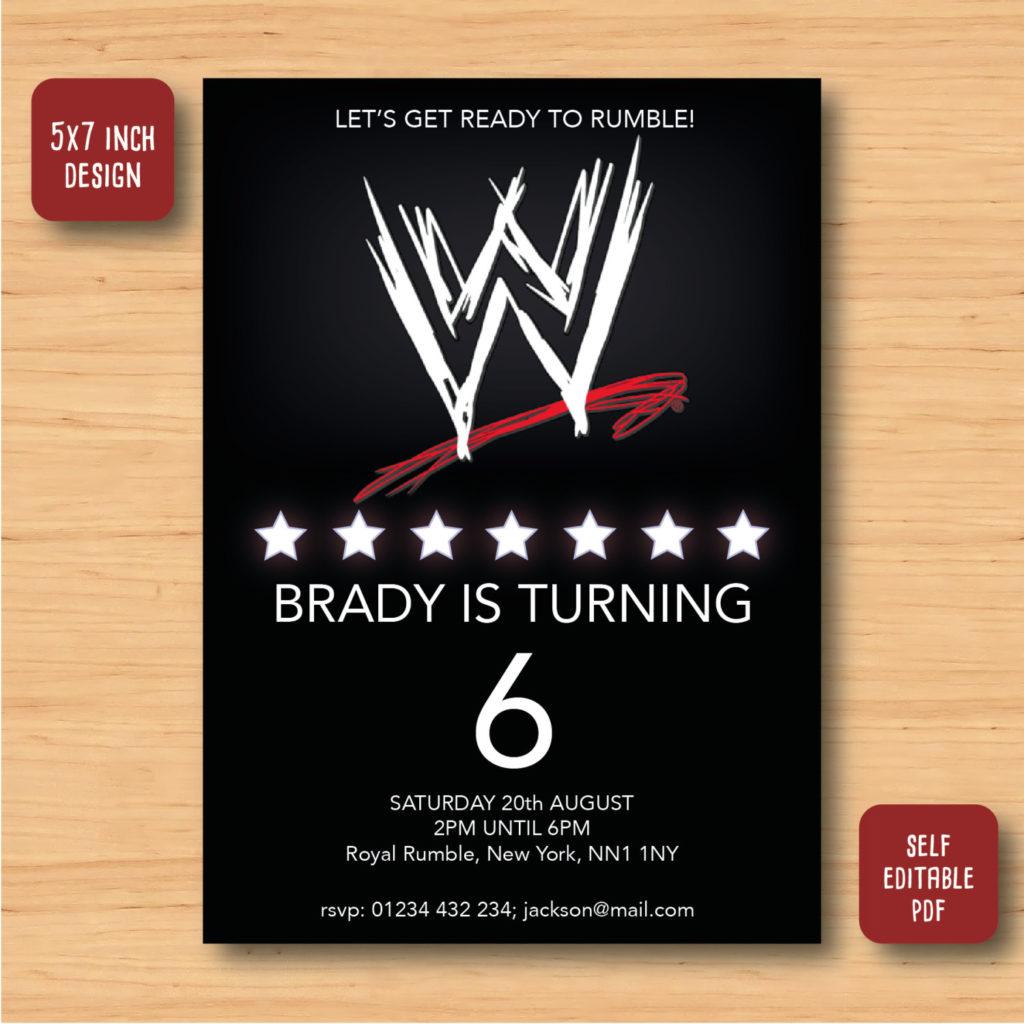 Wwe Wrestling Birthday Invitation SELF EDITABLE PDF 5 X 7