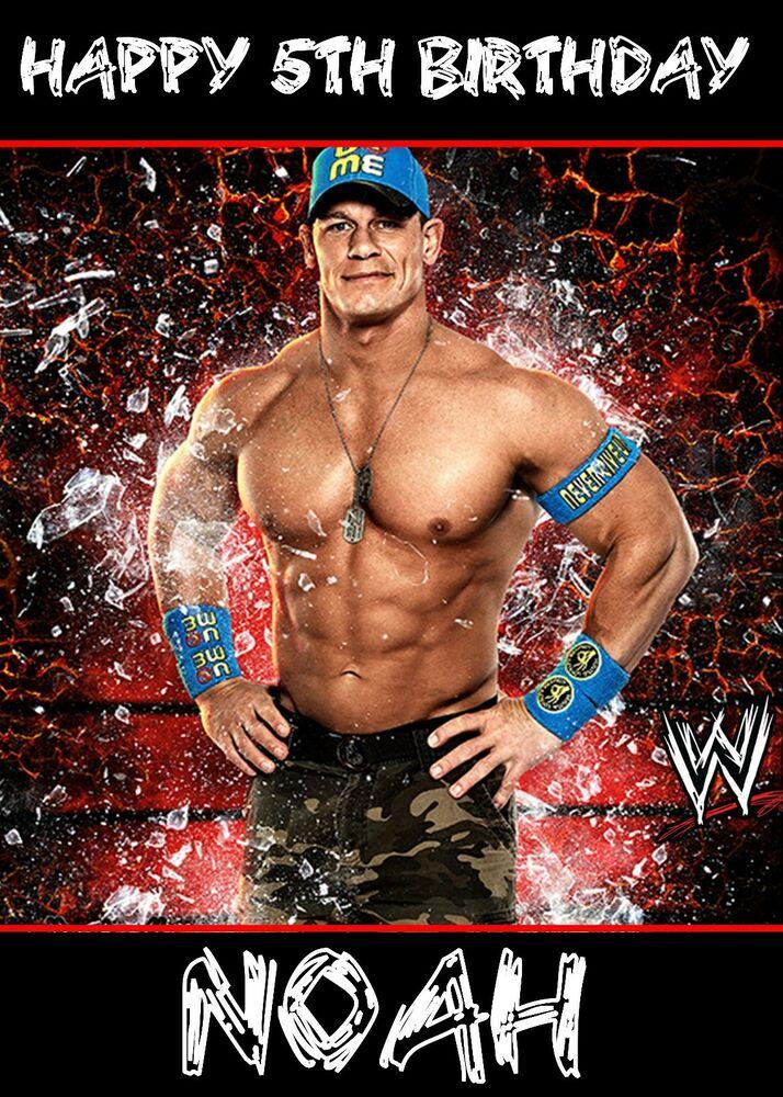 WWE WRESTLING CENA ROCK PERSONALISED Birthday Card Large