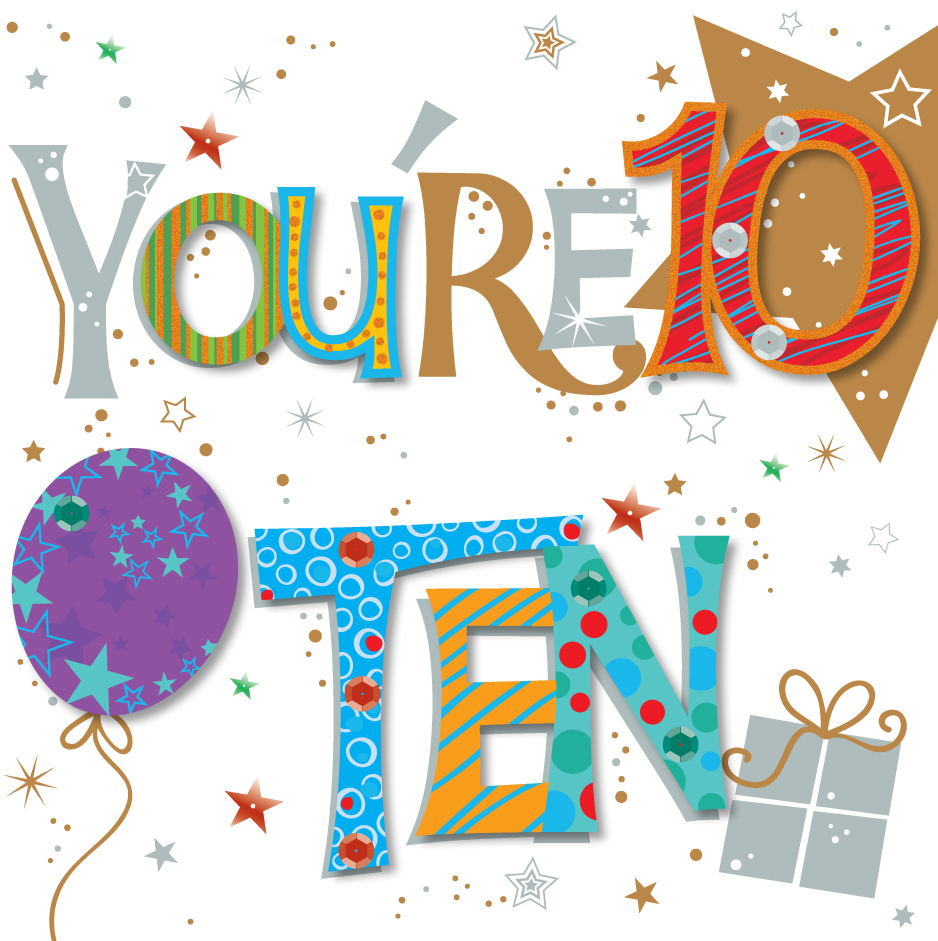 You re Ten 10th Birthday Greeting Card Cards