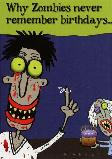 Zombie Birthday Funny Belated Birthday Card Greeting